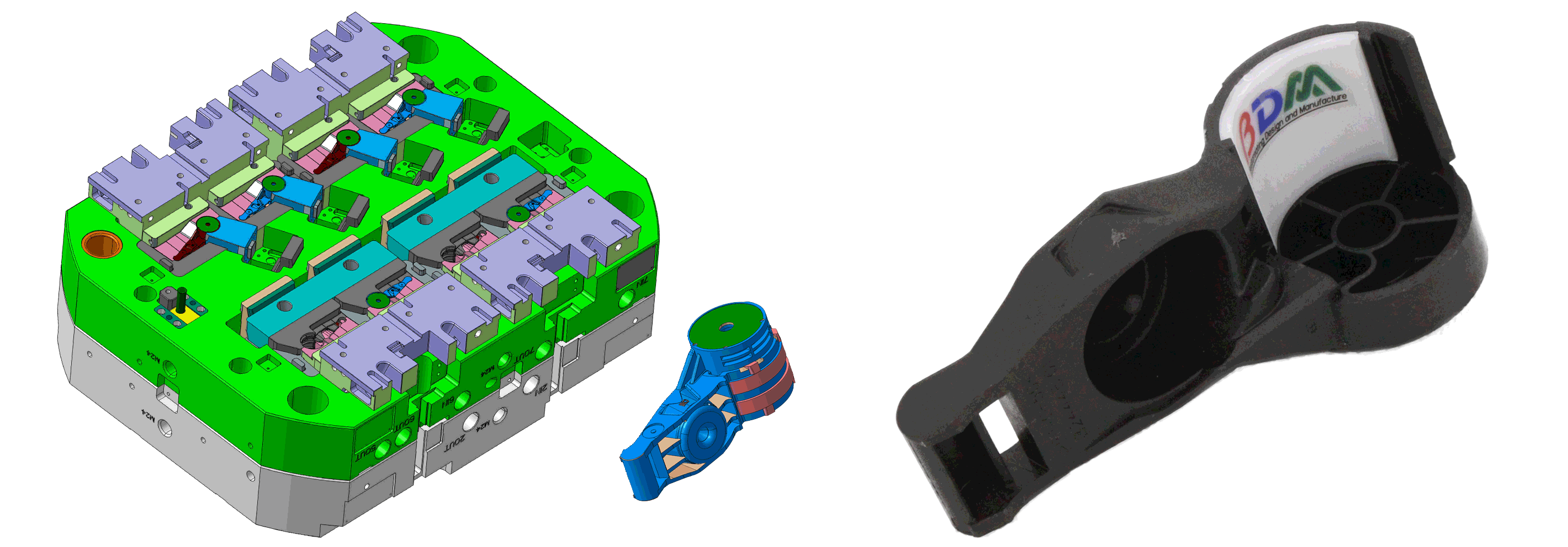 auto double injection mold with product